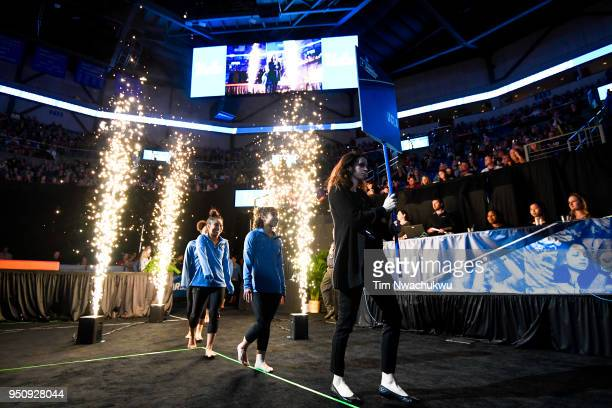 UCLA is introduced during the Division I Women's Gymnastics Championship held at Chaifetz Arena on April 21 2018 in St Louis Missouri UCLA won with a...