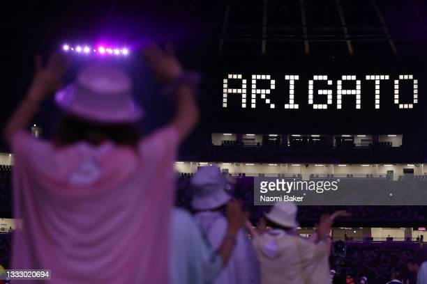 Is on display during the Closing Ceremony of the Tokyo 2020 Olympic Games at Olympic Stadium on August 08, 2021 in Tokyo, Japan.