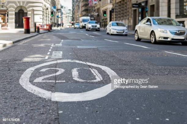 20 is plenty - speed limit sign stock photos and pictures