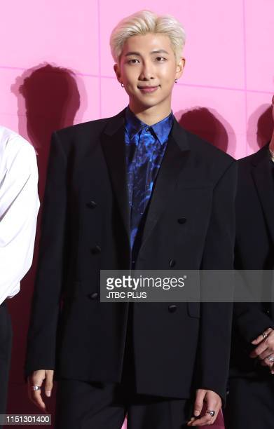 """Is posing at a press conference marking the release of its new album """"Map of the Soul Persona"""" at Dongdaemun Design Plaza in central Seoul on April..."""