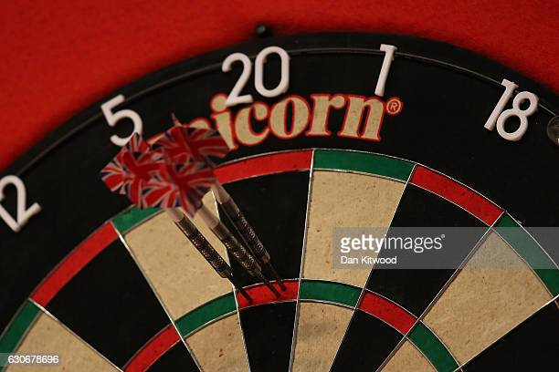 A 180 is scored during the quarter finals of the 2016 William Hill World Darts Championship on December 30 2016 in London England The event is...