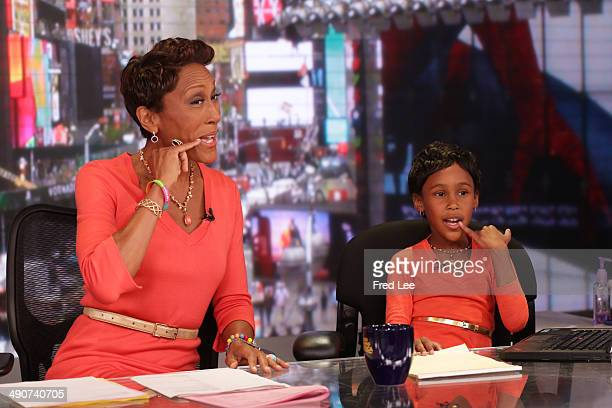 AMERICA GMA is seeing double with children taking over the anchor chairs Sienna Hawkins sits in for Robin Roberts on GOOD MORNING AMERICA 5/14/14...