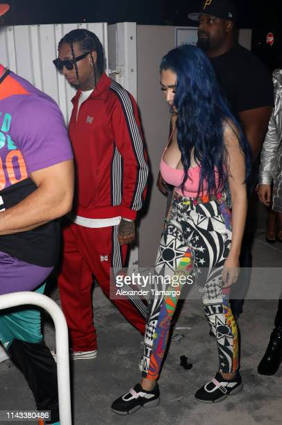 is seen arriving at E11EVEN Miami's official Rolling Loud after party on May 12 2019 in Miami Florida