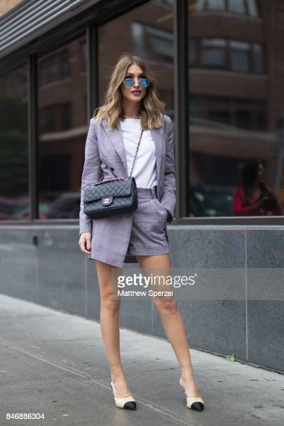 MEJIA is seen attending Marchesa during New York Fashion Week wearing a grey blazer and skirt on September 13 2017 in New York City