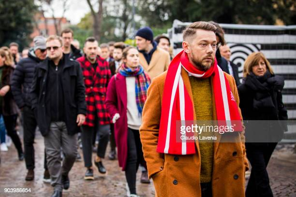 is seen during the 93 Pitti Immagine Uomo at Fortezza Da Basso on January 11 2018 in Florence Italy