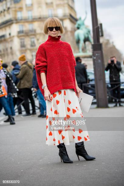 is seen in the streets of Paris before the Miu Miu show during Paris Fashion Week Womenswear Fall/Winter 2018/2019 on March 6 2018 in Paris France