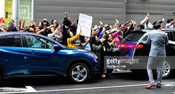 is seen leaving Good Morning America in time on September 26 2018 in New York City
