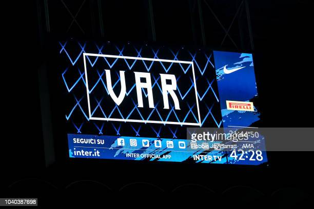 VAR is seen on the LCD screen during the Serie A match between FC Internazionale v ACF Fiorentina at Stadio Giuseppe Meazza on September 25 2018 in...