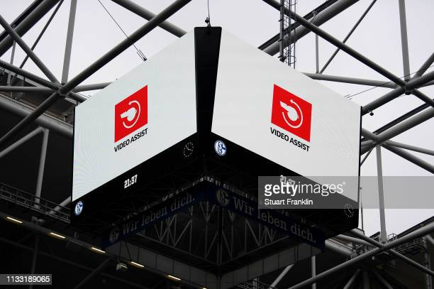 VAR is seen on the LED screens during the Bundesliga match between FC Schalke 04 and Fortuna Duesseldorf at VeltinsArena on March 02 2019 in...