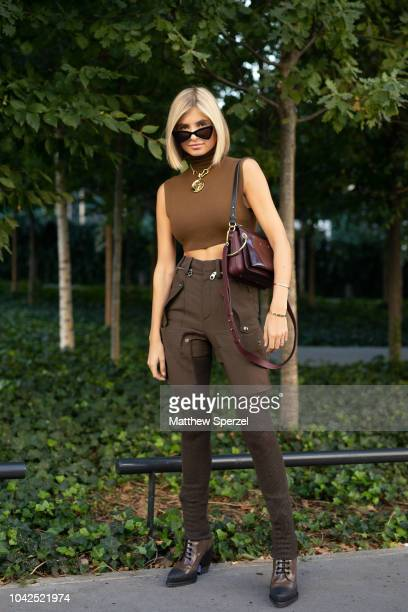 ADONTS is seen on the street during Paris Fashion Week SS19 wearing ChloŽ on September 27 2018 in Paris France