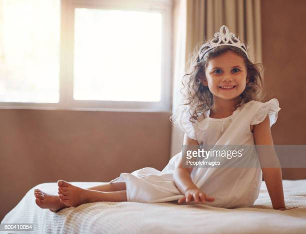 is she not just the cutest princess you've ever seen? - tiara stock pictures, royalty-free photos & images