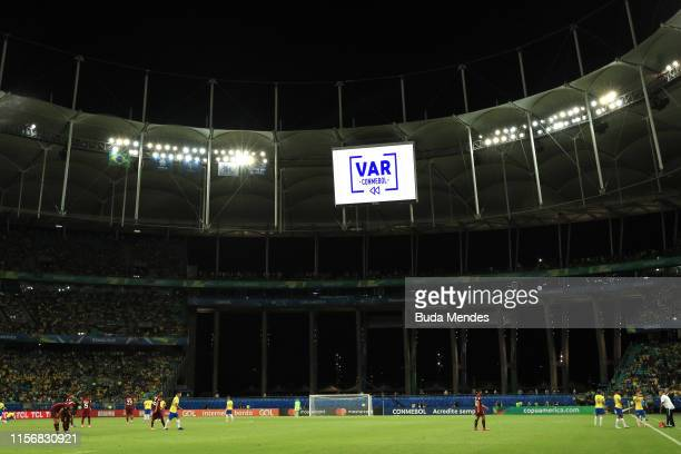 Is shown on the big screen during the Copa America Brazil 2019 group A match between Brazil and Venezuela at Arena Fonte Nova on June 18, 2019 in...