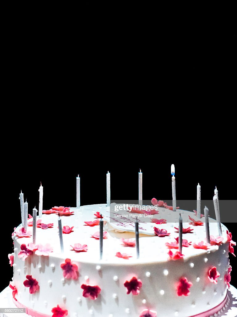 60 Is The New 40birthday Cake With One Candle Lighted Stock Photo