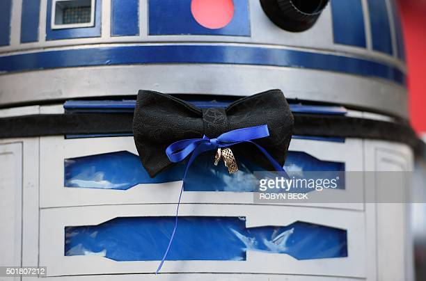 R2D2 is the ring bearer at the Star Warsthemed wedding of Australian Star Wars fans Caroline Ritter and Andrew Porters in the forecourt of the TCL...