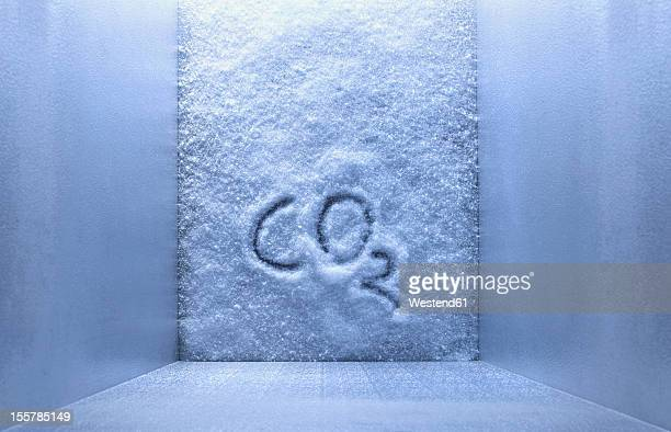 CO2 is written on ice in freezer