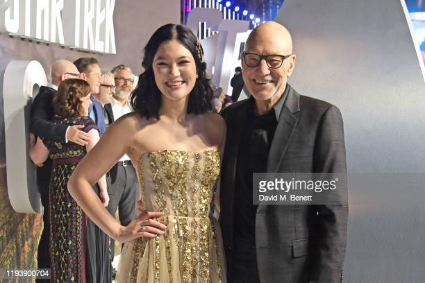 Isa Briones and Sir Patrick Stewart attend the European Premiere of Amazon Original Star Trek Picard at Odeon Luxe Leicester Square on January 15...