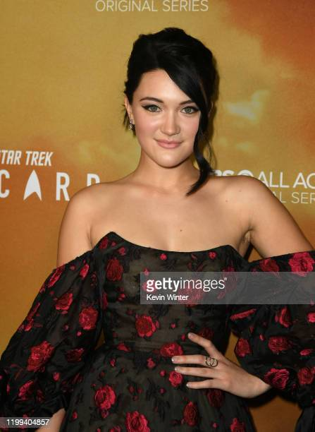 Isa Briones arrives at the premiere of CBS All Access' Star Trek Picard at ArcLight Cinerama Dome on January 13 2020 in Hollywood California