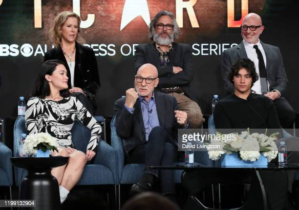 "Isa Briones, Heather Kadin, Sir Patrick Stewart, Michael Chabon, Evan Evagora and Akiva Goldsman of ""Star Trek: Picard"" speak during the CBS All..."