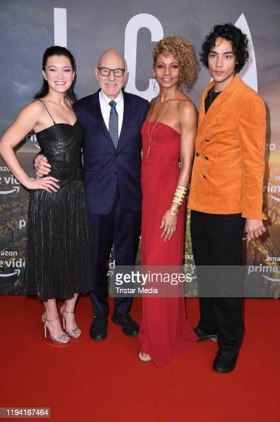 Isa Briones Sir Patrick Stewart Michelle Hurd and Evan Evagora attend the Star Trek Picard fan screening at Zoo Palast on January 17 2020 in Berlin...