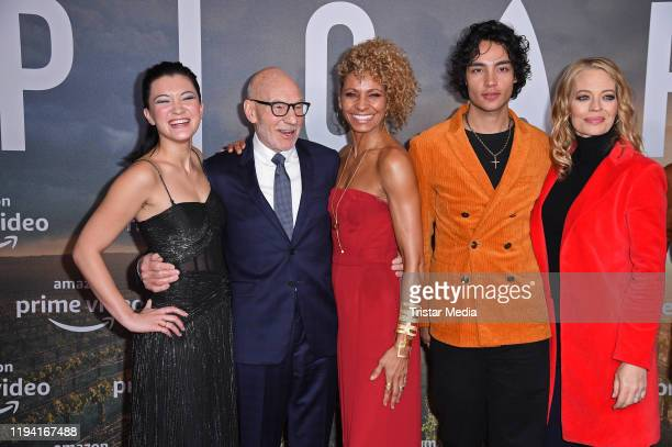 Isa Briones Sir Patrick Stewart Michelle Hurd Evan Evagora and Jeri Ryan attend the Star Trek Picard fan screening at Zoo Palast on January 17 2020...