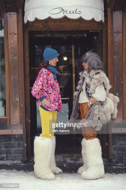 Isa Genolini and Maria Antonia in the main street of Cortina d'Ampezzo Italy March 1982