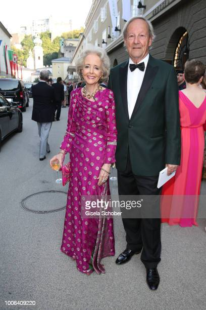 Isa Graefin von Hardenberg and her husban Andreas Graf von Hardenberg during the premiere of 'Die Zauberfloete' during the Salzburg Festival 2018 at...