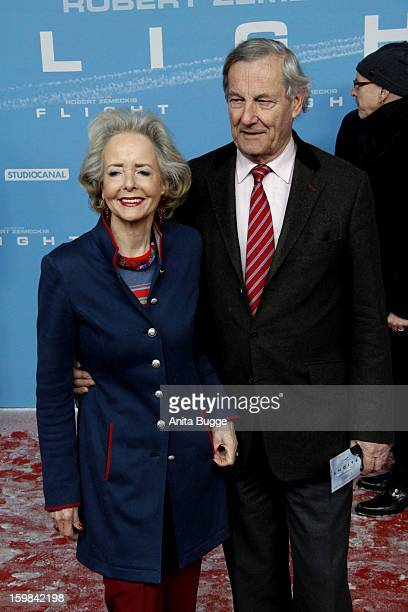 Isa Graefin von Hardenberg and her husband Andreas Graf von Hardenberg attend the 'Flight' Germany premiere at Event Cinema Sony Center on January 21...