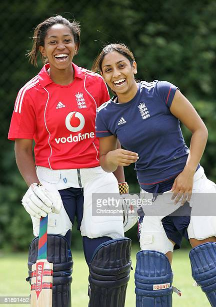Isa Guha and Ebony RainfordBrent laugh during the England Women's Training session at Loughborough University on July 10 2008 in Loughborough England