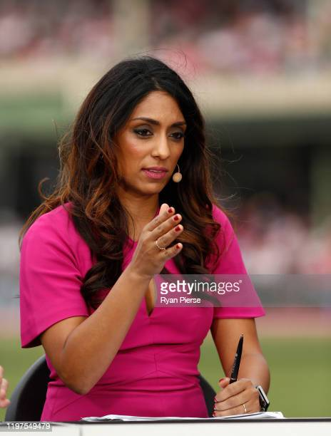 Isa Guha commentates during day three of the Third Test match in the series between Australia and New Zealand at Sydney Cricket Ground on January 05...