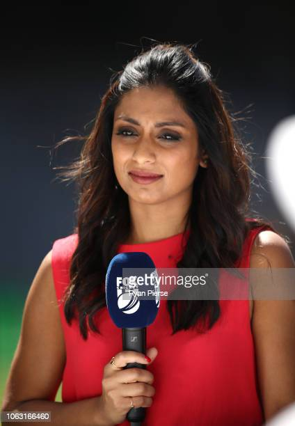 Isa Guha commetates for Fox Cricket during game one of the Gillette One Day International series between Australia and South Africa at Optus Stadium...
