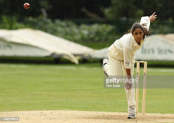 Isa Guha in action during the Flannels For Heroes Charity Cricket Event at Burton Court on June 15 2012 in London England