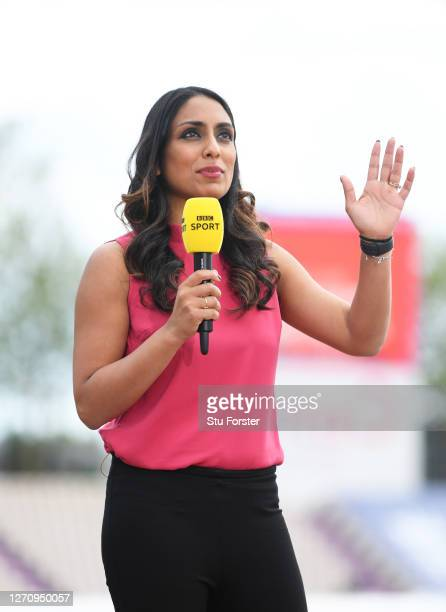 Isa Guha looks on as she commentates on the match for the BBC during the 2nd Vitality International Twenty20 match between England and Australia at...