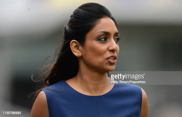 Isa Guha looks on before the ICC Cricket World Cup Final between New Zealand and England at Lord's on July 14 2019 in London England