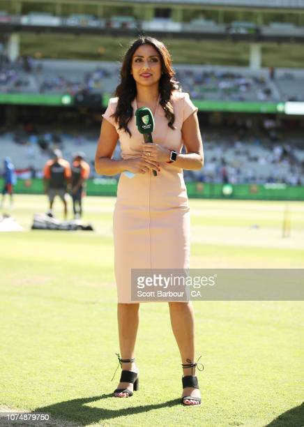 Isa Guha looks on during day one of the Third Test match in the series between Australia and India at Melbourne Cricket Ground on December 26 2018 in...