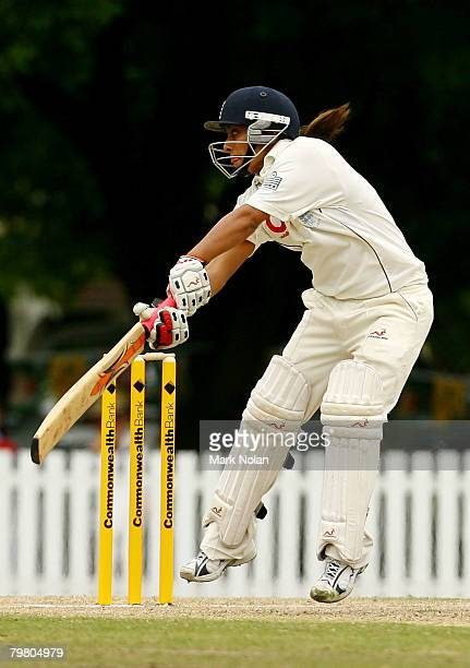 Isa Guha of England attempts a late cut shot during day three of the First Test between Australia and England at Bradman Oval on February 17 2008 in...