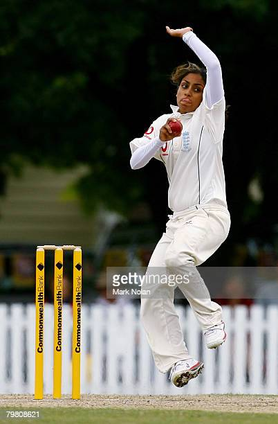 Isa Guha of England bowls during day three of the First Test between Australia and England at Bradman Oval on February 17 2008 in Bowral Australia