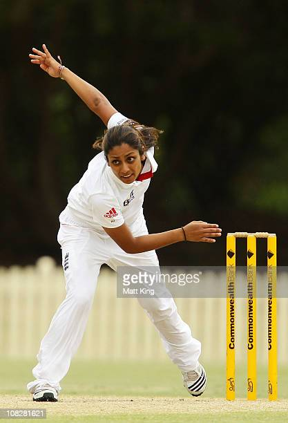 Isa Guha of England bowls during day three of the Test match between the Australia and England at Bankstown Oval on January 24 2011 in Sydney...