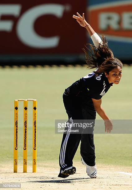 Isa Guha of England bowls during the Women's third ODI match between Australia and England at the WACA on January 9 2011 in Perth Australia