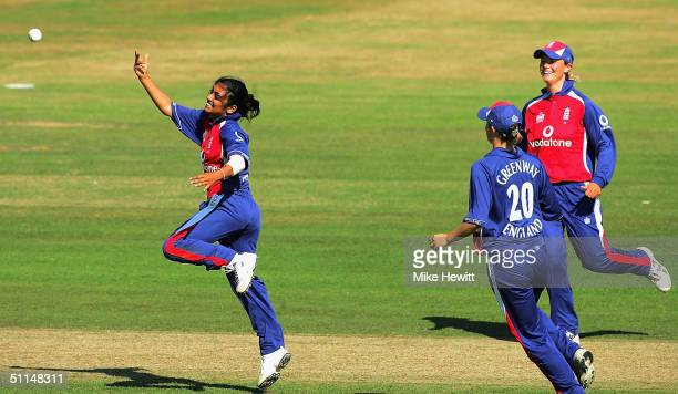 Isa Guha of England celebrates after having caught and bowled Sarah McGlashan during the NatWest Women's Series International between England and New...