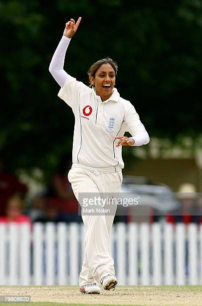 Isa Guha of England celebrates dismissing Alex Blackwell of Australia during day three of the First Test between Australia and England at Bradman...