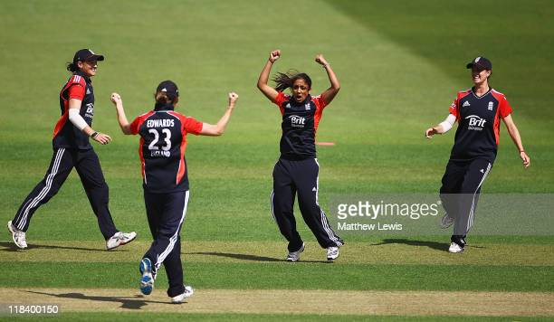 Isa Guha of England celebrates her hundredth wicket after she bowled Alex Blackwell of Australia during the NatWest Women's Quadrangular Series Final...