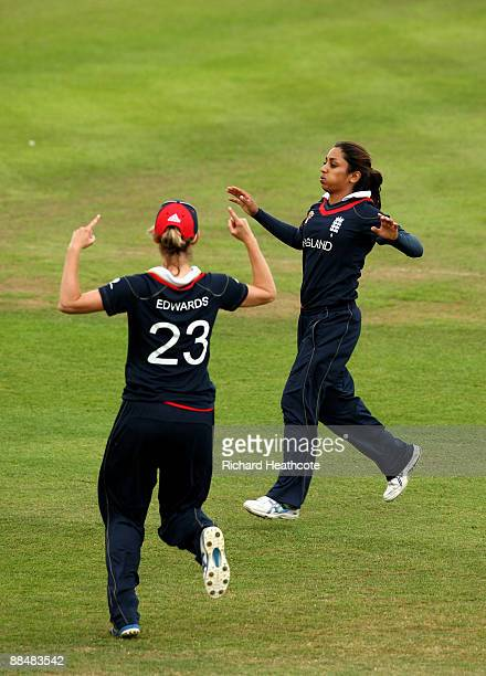Isa Guha of England celebrates taking the wicket of Chamari Polgampola during the ICC Women's Twenty20 World Cup match between England and Sri Lanka...