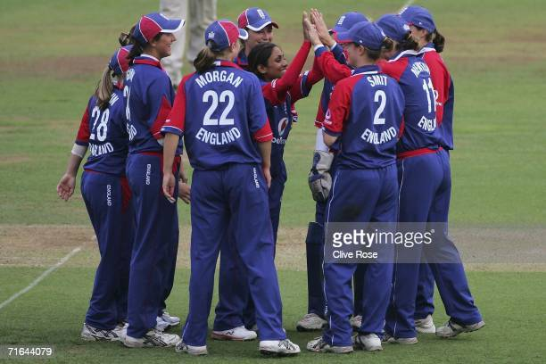 Isa Guha of England celebrates the wicket of Hemlata Kala of India during the first NatWest Womens International match between England and India at...