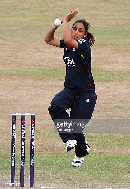 Isa Guha of England in action during the 1st Women's NatWest One Day International match between England and New Zealand at the County Ground on July...