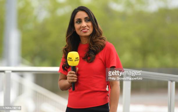 Isa Guha of the BBC looks on before play in the third Test match between England and Pakistan at the Ageas Bowl on August 25 2020 in Southampton...