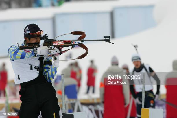 Isa Hidenori of Japan attends shooting training before the Mens Biathlon 10km Pursuit Final on Day 2 at the Sixth Asian Winter Games on January 29...