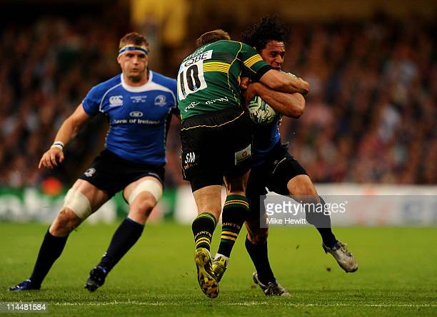 Isa Nacewa of Leinster is tackled by Steve Myler of Northampton during the Heineken Cup Final match between Leinster and Northampton Saints at the...