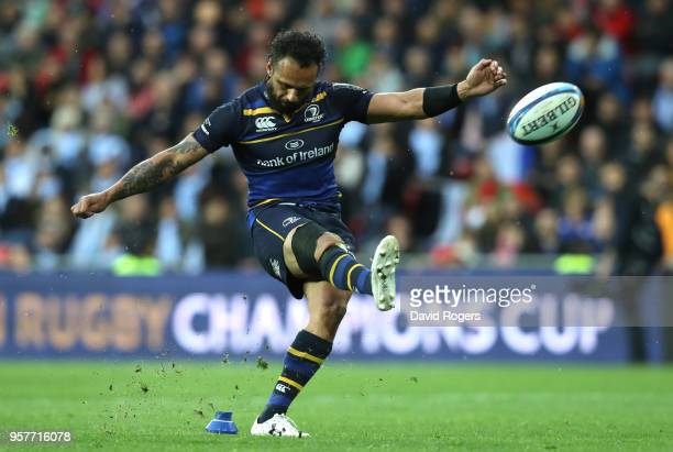 Isa Nacewa of Leinster kicks the winning penalty during the European Rugby Champions Cup Final match between Leinster Rugby and Racing 92 at San...
