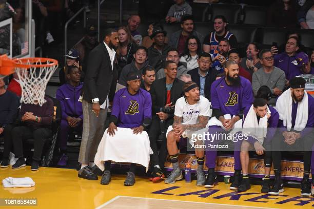 Isaac Bonga Lebron James Kentavious CaldwellPope Rajon Rondo Michael Beasley Tyson Chandler Lonzo Ball and JaVale McGee of the Los Angeles Lakers...
