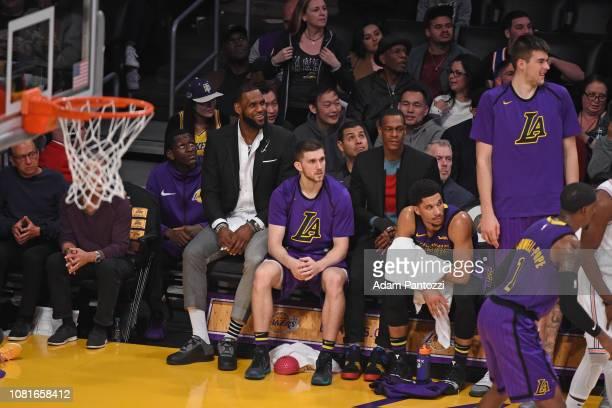 Isaac Bonga Lebron James Sviatoslav Mykhailiuk Rajon Rondo Josh Hart and Ivica Zubac of the Los Angeles Lakers Lakers look on during the game against...